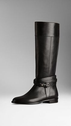 d87ab034cbc30 Belted Leather Riding Boots