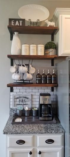 Coffee Bar in Kitchen Dining Room Decor Bar coffee Kitchen Coffee Bars In Kitchen, Coffee Bar Home, Home Coffee Stations, Coffe Bar, Coffee Nook, Coffee Kitchen Decor, Coffee Bar Ideas, Coffee Area, Coffee Shops