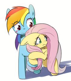 #970706 - artist:30clock, fluttershy, hug, rainbow dash, safe - Derpibooru - My Little Pony: Friendship is Magic Imageboard