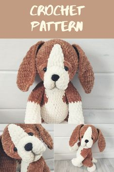 Crochet PATTERN puppy beagle dog Amigurumi plush puppy with long ears Cute puppy Crochet pattern ami Crochet Animal Patterns, Crochet Patterns Amigurumi, Crochet Dolls, Handmade Toys, Handmade Crafts, Handmade Ideas, Diy Crochet And Knitting, Crochet Mouse, Blanket Yarn