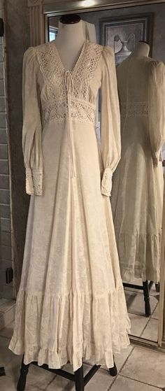 VTG Gunne Sax Jessica McClintock 1970s Prairie Wedding Dress, Ivory 6 #GunneSax