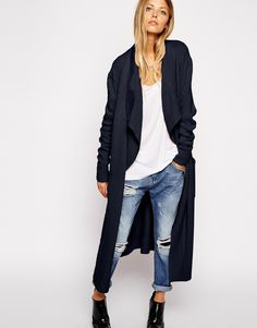 Image 1 of ASOS Longline Waterfall Cardigan In Brushed Knit
