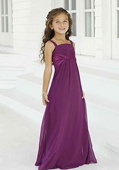 Chiffon Straps pleated with Sash Junior Bridesmaid Dress