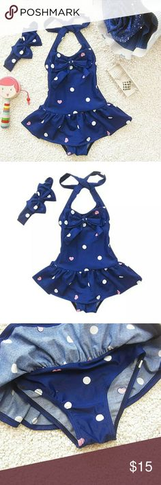 Baby Toddler Girl One Piece Red with Dots Swimwear Baby Toddler Girl One Piece Blue with Dots Spandex Cotton Fits to True Size Swimwear Kaccakid Swim One Piece