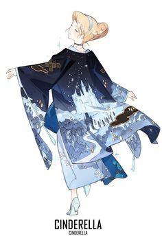 @STARshadowmagic Kimono Disney Princess Fanart - Cinderella