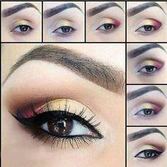 Maquillaje de ojos en tonos cálidos.