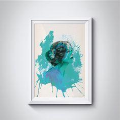 Poster colorido para decoração com download grátis! Mulher em aquarela