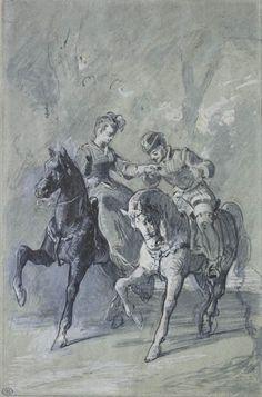 Karl Brulloff Couple on horses in a landscape, circa drawing. Coppola, Horse Ears, Louvre, Museum, Art Graphique, Paris, Dressage, Les Oeuvres, Moose Art