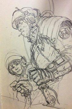 Art of Karl Kopinski FB page. Space dock workers.