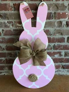 Wood Easter Bunny Door Hanger by ASouthernCreation on Etsy https://www.etsy.com/listing/224466302/wood-easter-bunny-door-hanger