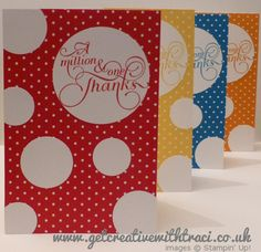 Stampin Up Circle Punch Million & One Card - brights collection by Independent Stampin Up Demonstrator Traci Cornelius
