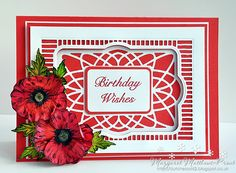 I am just loving the Shenna Douglas poppy stamps. I have made the background from Sue Wilson's Portuguese background . Card Tags, I Card, Birthday Wishes, Birthday Cards, Sheena Douglass, Poppy Cards, Crafters Companion Cards, Card Making Inspiration, Sue Wilson