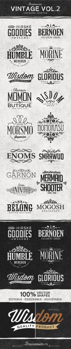 Vintage Logo / Badge Collection PSD #design Download: http://graphicriver.net/item/vintage-logobadge-collection-vol2/13372339?ref=ksioks