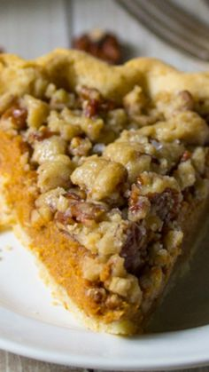 Bourbon Pumpkin Pie with a Salted Brown Butter Pecan Streusel ~ replace pecans with chocolate!