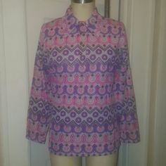 Lavender Life! Vintage polyester abstract print top Sz S Tops