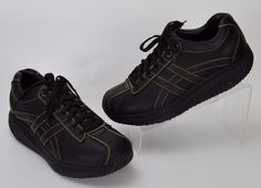 Skechers Shape Ups Overhaul Men's 10.5 Black Leather Toning Walking Sneakers #SKECHERS #Walking