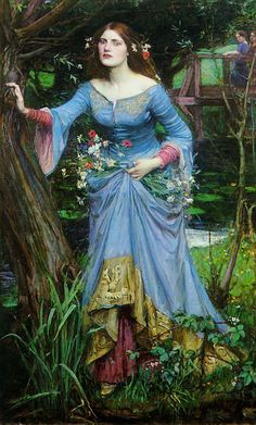 Ophelia  John William Waterhouse Just noticed this: WHO are those girls on the bridge???