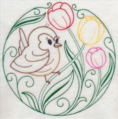 Very sweet Birds and Blossoms set. It will probably take you longer to change thread colors if you don't want them all in one color than what time it takes to actually sew out. Very sweet look for tea towels or baby decorations and currently on sale for $1 each design, 20 different designs available in 5 sizes. Machine Embroidery Designs at Embroidery Library! - New This Week