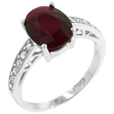 Atlantic Engagement Ring  White Gold Rhodium Bonded Ring with an Oval Cut Ruby CZ Center Stone and Round Cut Clear CZ Accents in a Prong Setting in Silvertone