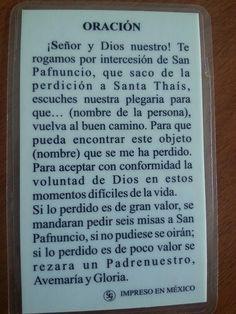 San Pafnuncio. Oración para que las cosas perdidas aparezcan.