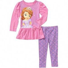 Disney Sofia the First Princess Baby Toddler Girl Tunic and Leggings Set Leggings Outfit Summer, Baby Girl Leggings, Toddler Leggings, First Girl, First Baby, Disney Outfits, Disney Clothes, Girls Tunics, Sofia The First