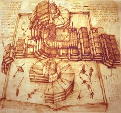 Sketches from Leonardo da Vinci's Notebook: The Large Hadron Collider