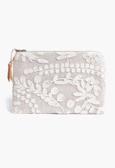 Instead of Carrying Flowers! :Linen and Lace wedding clutch purse = bridesmaid gift