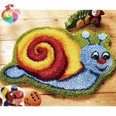 Home Decoration Hook Rug Kit Cartoon DIY Unfinished Crocheting Yarn Mat  Latch Hook Rug Kit Floor