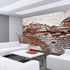 Fototapete 254x184cm PREMIUM Wand Foto Tapete Wand Bild Papiertapete    Steinwand Tapete Backsteinmauer Putz Rustikal Vintage