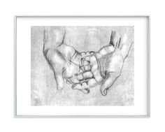 """""""Gesture - Open Hands"""" - Art Print by Alaine Ball in beautiful frame options and a variety of sizes."""