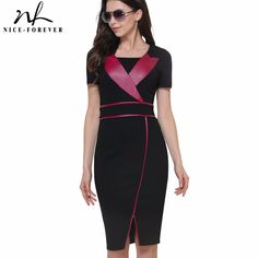 Aliexpress.com : Buy Nice forever Vintage Mature Leather Patchwork Short Sleeve Casual Wear to Work Bodycon Pencil Office Woman Slim Summer DressB366 from Reliable wear to work suppliers on NICE-FOREVER Official Store