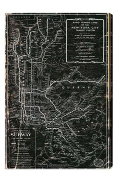 Free shipping and returns on Oliver Gal 'NYC Subway 1958' Wall Art at Nordstrom.com. A vintage map of the NYC subway system is rendered in black and white on a hand-stretched canvas that makes a trendy design statement.