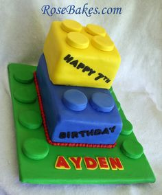 Lego Birthday Cake even has Aydens name on it lol