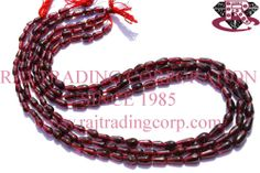 Garnet Smooth Drops (St.Drill) (Quality B) Shape: Drops Smooth Length: 36 cm Weight Approx: 10 to 12 Grms. Size Approx: 3x6 to 5x8 mm Price $2.40 Each Strand