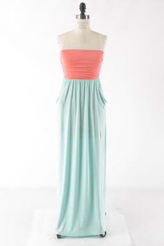 Half & Half Maxi Dress - Mint/Coral  $36 with free shipping  Fancy & Sweet Boutique on Facebook