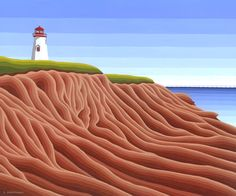 Seacow Head Lighthouse PEI - Acrylic Painting by Susan Christensen Inspire Dance, Prince Edward Island, Beautiful Islands, Print Pictures, Lighthouse, Art Gallery, Behance, Studio, Abstract