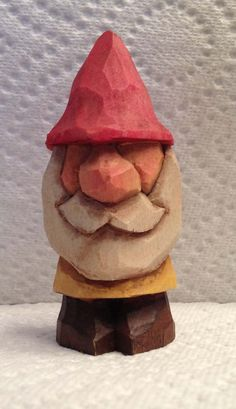 Hand Carved Handmade Miniature Gnome Wood Carving. $18.00, via Etsy.