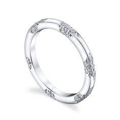 The MICHAEL B. LACE Collection, inspired by the most exquisite French lace, is for the delicate bride who appreciates the understated elegance and symmetry of the equally interspersed diamond bouquets.  For a truly over-the-top look, MICHAEL B. offers the option to add Micro-Pave diamonds to the prongs and/or tips of the ring. MB1-40-98-01