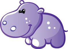 Cute Baby Grey Hippo Wall Decal
