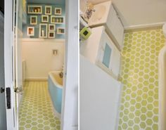 How to repaint and stencil ugly rental vinyl tile flooring... oh, how I would love to do this to ours!