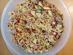 Nudelsalat ohne Mayo, ein schönes Rezept mit Bild aus der Kategorie Früchte. Tags: Eier oder Käse, Fleisch, Früchte, gekocht, Gemüse, Reis- oder Nudelsalat, Salat