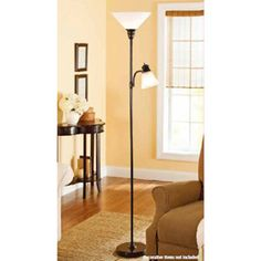 Mainstays Oil-Rubbed Bronze Combo Floor Lamp with Reading Light