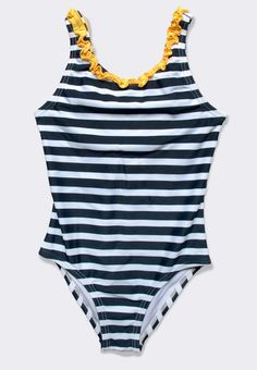 #Nautical striped #bathing suit with ruffle trim navy/yellow (#kids). Our most popular bathing suit, this new style offers delicate ruffle detailing in fun, contrasting stripes. Great for the #beach and #pool!