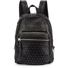 MARC by Marc Jacobs Domo Biker Degrade-Studs Backpack ($598) ❤ liked on Polyvore featuring bags, backpacks, black, leather daypack, studded backpack, black rucksack, black studded backpack and black leather backpack