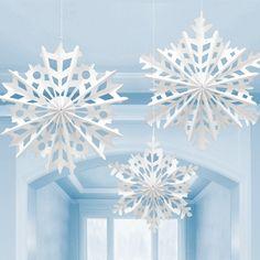 3 große Schneeflocken Faltsterne jetzt online bestellbar bei: http://www.kids-party-world.de/kindergeburtstag-partygeschirr/winter-weihnachts-deko/