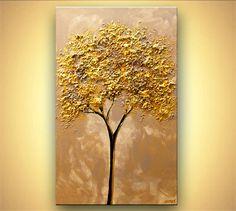 Gold Baum malen 40 x 24 Original abstrakt Textured von OsnatFineArt