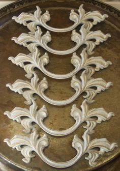 6 French Provincial Drawer Pulls White Shabby Distressed 5.75 Inches long 3 inch Centers. $36.00, via Etsy.