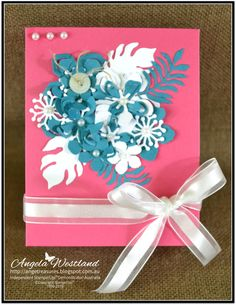 Click on the picture to see more of Angela's Projects. #stampinup #handmadecards #@Stampinupangelawestland #giftbox #botanticalbuilderframelits #melonmambo #islandindigo #makeyourownflowers #createacluster