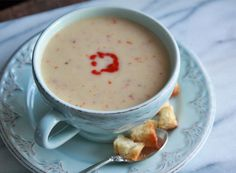 Coconut Squash Soup:  roasted squash, coconut milk and chilies blended into a creamy soup.