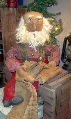 Original Folk art Santa by Meadow Fork Primitives
